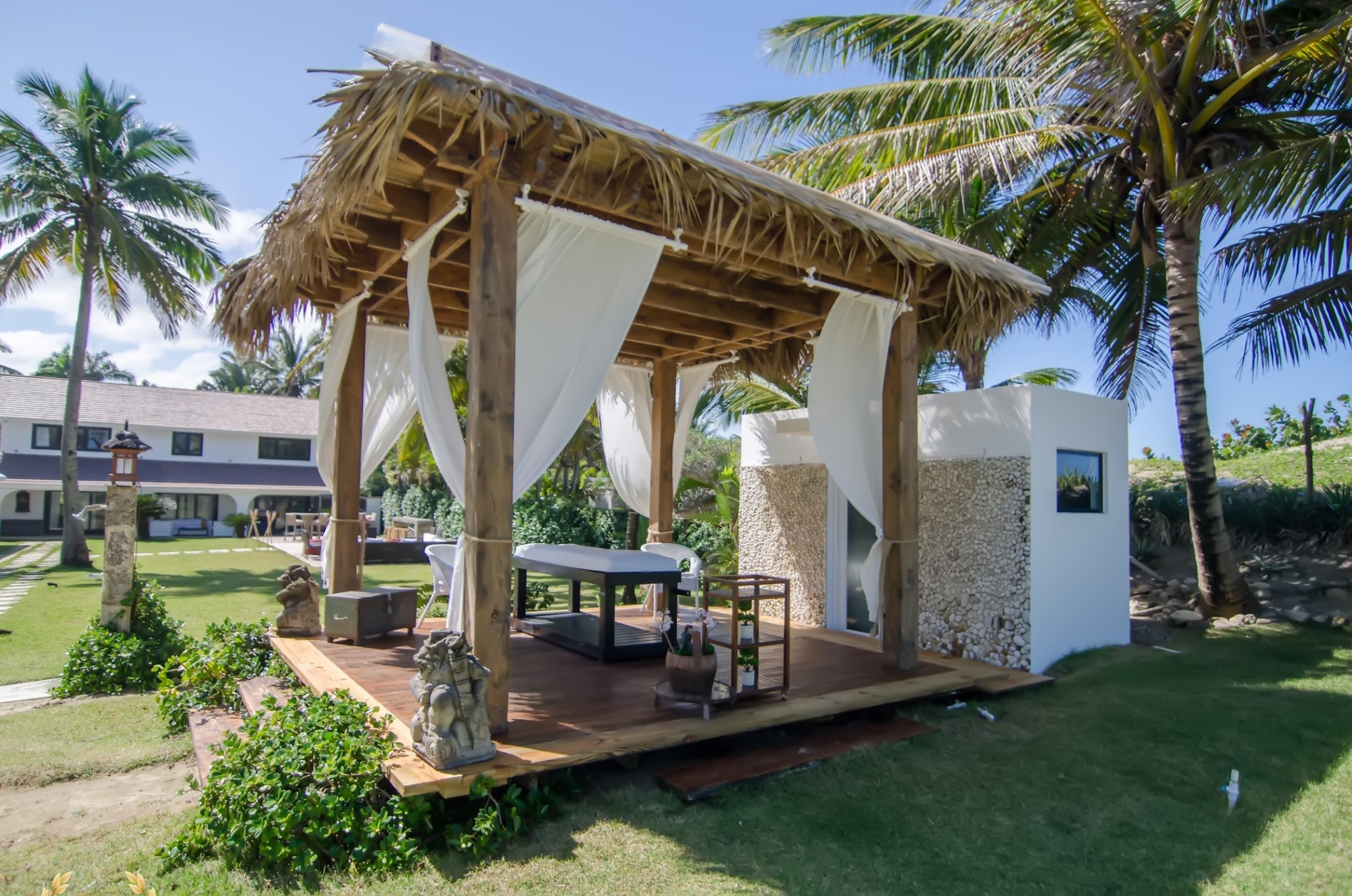 Spa gazebo at the Cabarete beach villa rental