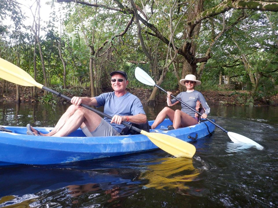 River kayaking couple