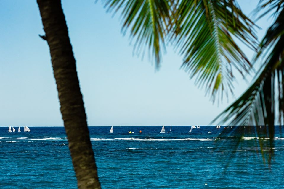 View of the ocean and laser boats