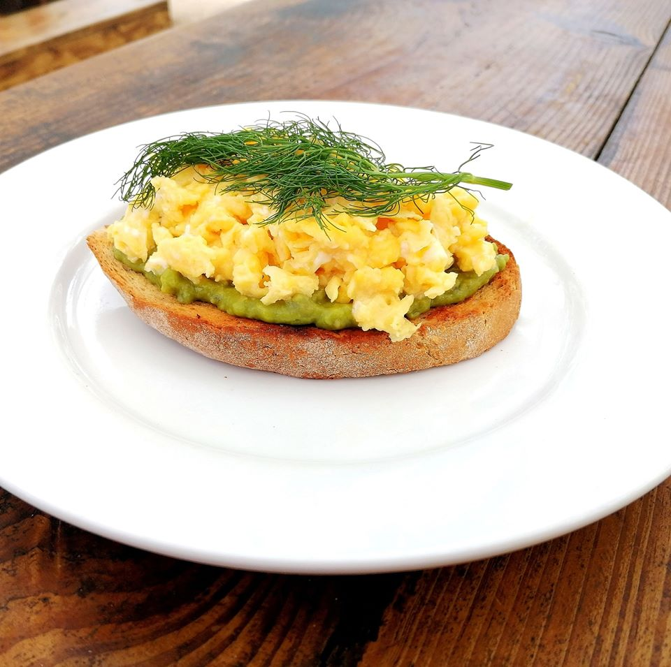 eggs over toast and avocado